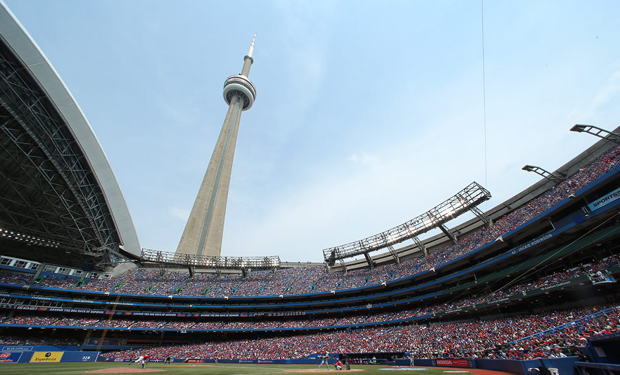 The Rogers Centre with the roof pulled back