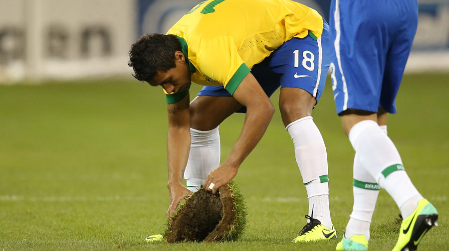Not quite ready for prime time, a November 19th, 2013 friendly between Brazil and Chile showed that the sod may need more than just a few hours to settle and congeal before becoming playable by professional athletes