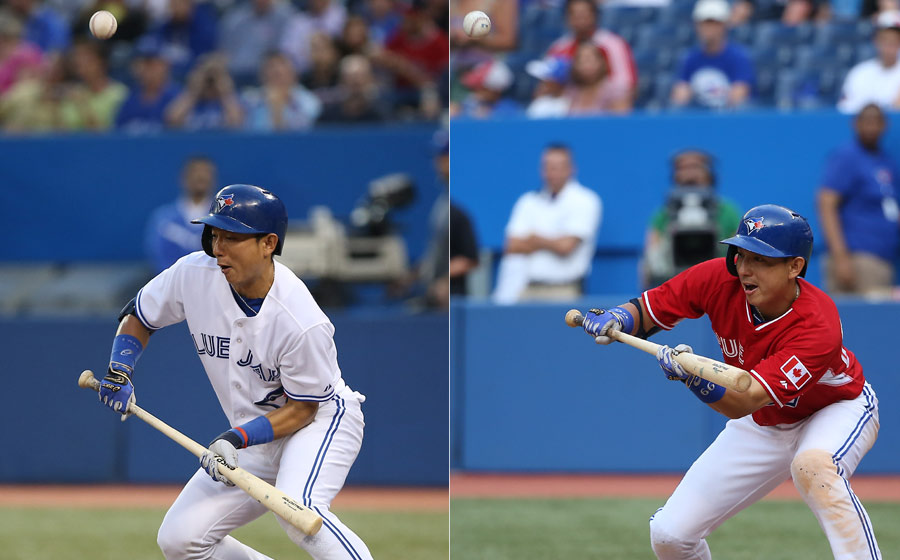 D??vu: Munenori Kawasaki pops up a bunt attempt on September 12, 2013(left) and does exactly the same in a game on August 10, 2014(right) to help kill a promising rally in the fifteenth inning of a 19-inning game