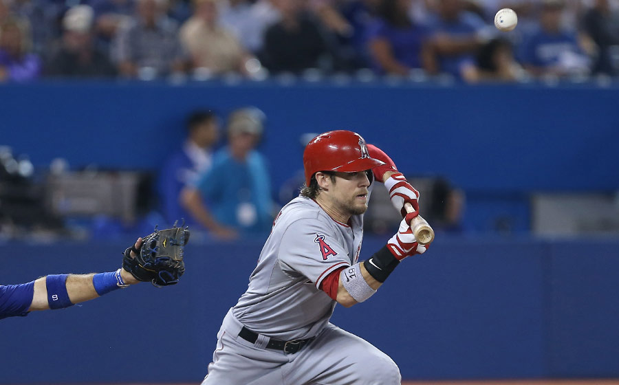 Look familiar ?  Collin Cowgill pops up a bunt attempt on September 10, 2013