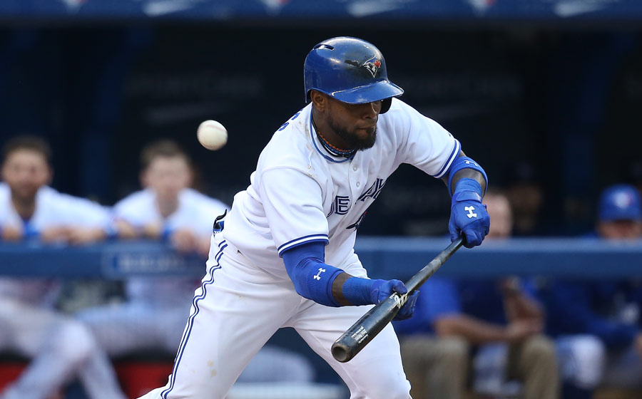 More of the same: Jose Reyes fouls off a pitch straight back as he tries to put down a bunt on May 30, 2014