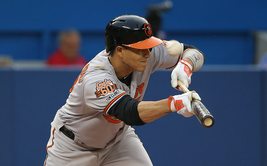 Not again: Here, it?s Manny Machado?s turn to foul off a pitch as he tries to bunt on August 7, 2014