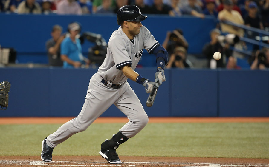 A-ha !  I thought I?d throw you a curve here by showing the captain, Derek Jeter, doing it right as he successfully moves Brett Gardner over to third base in the first inning of a game against the Blue Jays on June 25, 2014