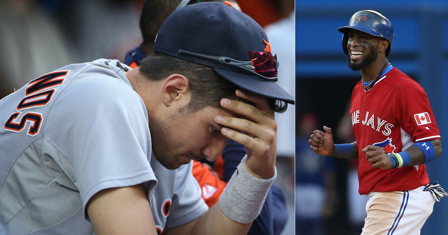 Will this ever end ?  Sunday?s marathon was starting to get to a lot of people, including Nick Castellanos(left); Jose Reyes was starting to get that winning feeling as a baserunner in the 19th inning