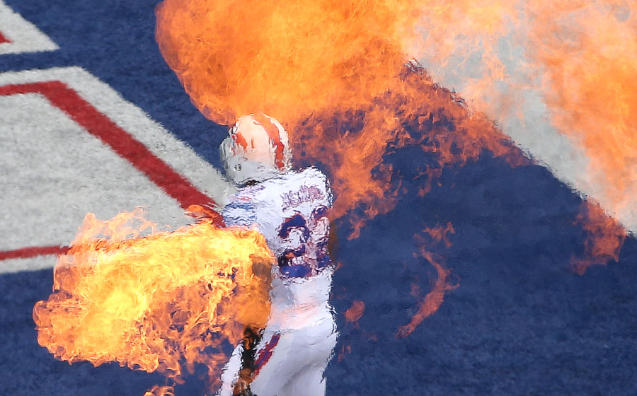 In keeping with the fire meme, Fred Jackson is introduced before the game ? don?t worry, he was unscathed by the pyrotechnics