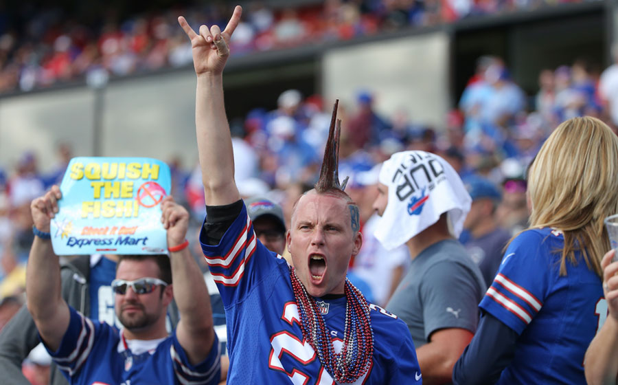Mohawked and blissed out of his mind is this Bills fan as he gets all pumped about the Bills? imminent victory in Week 2