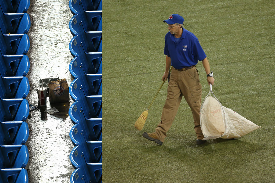 Now the seats are all empty.  A stadium worker picks up the gum, wads of chew, and assorted litter scattered about the turf