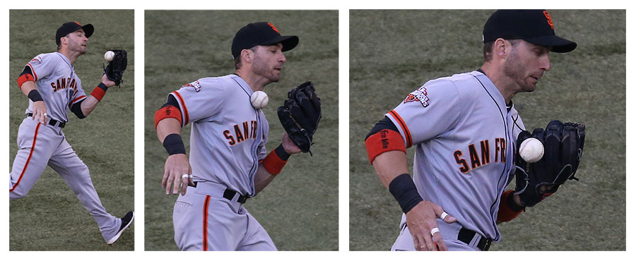 The usually sure-handed Marco Scutaro boots an easy pop up
