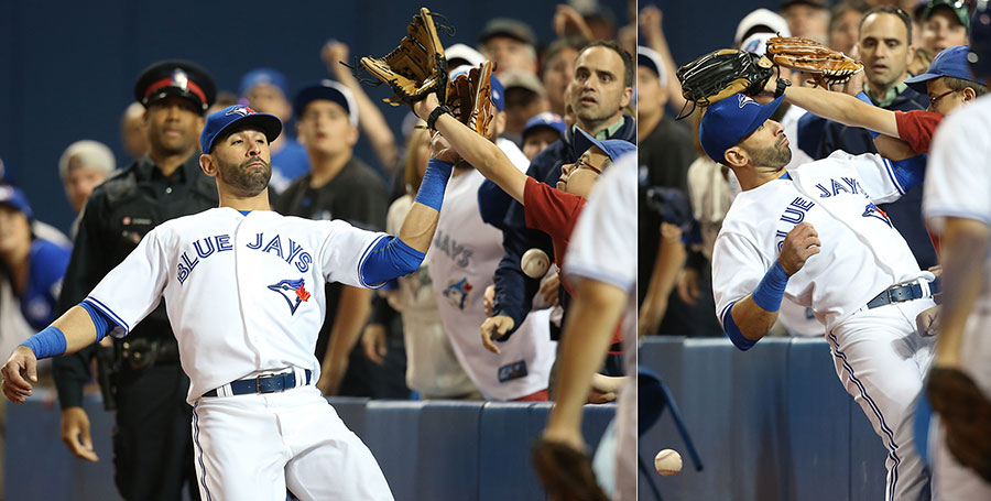 Bartman?s evil twin appears in Toronto to obstruct Jose Bautista?s pursuit of a fly ball in foul territory
