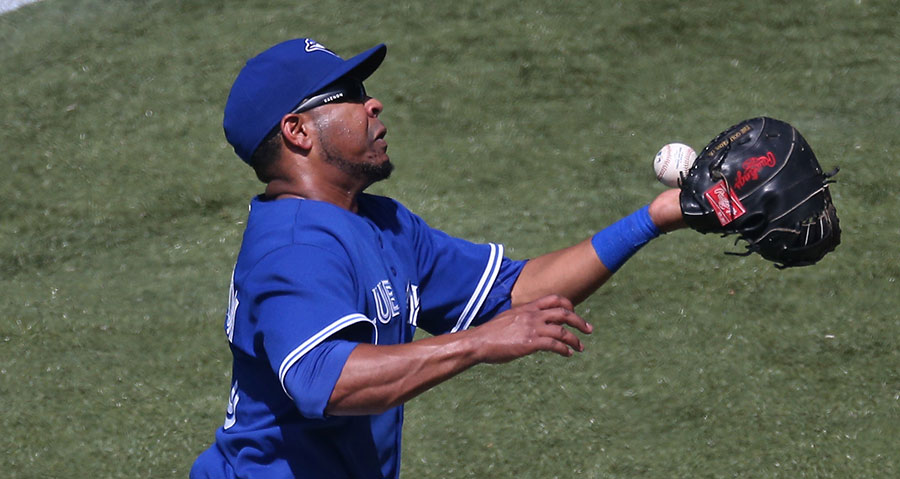 Not to be outdone, Edwin Encarnacion, who has had a history of fielding troubles in his previous incarnation as a third baseman, drops one here while playing first base
