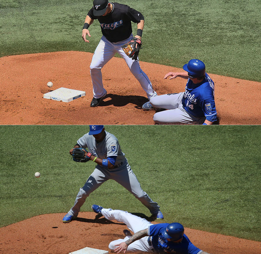 TOP:  Marco Scutaro drops the ball during the exchange from glove to hand while forcing out the runner at second; BOTTOM:  Alcides Escobar drops the ball on the transfer