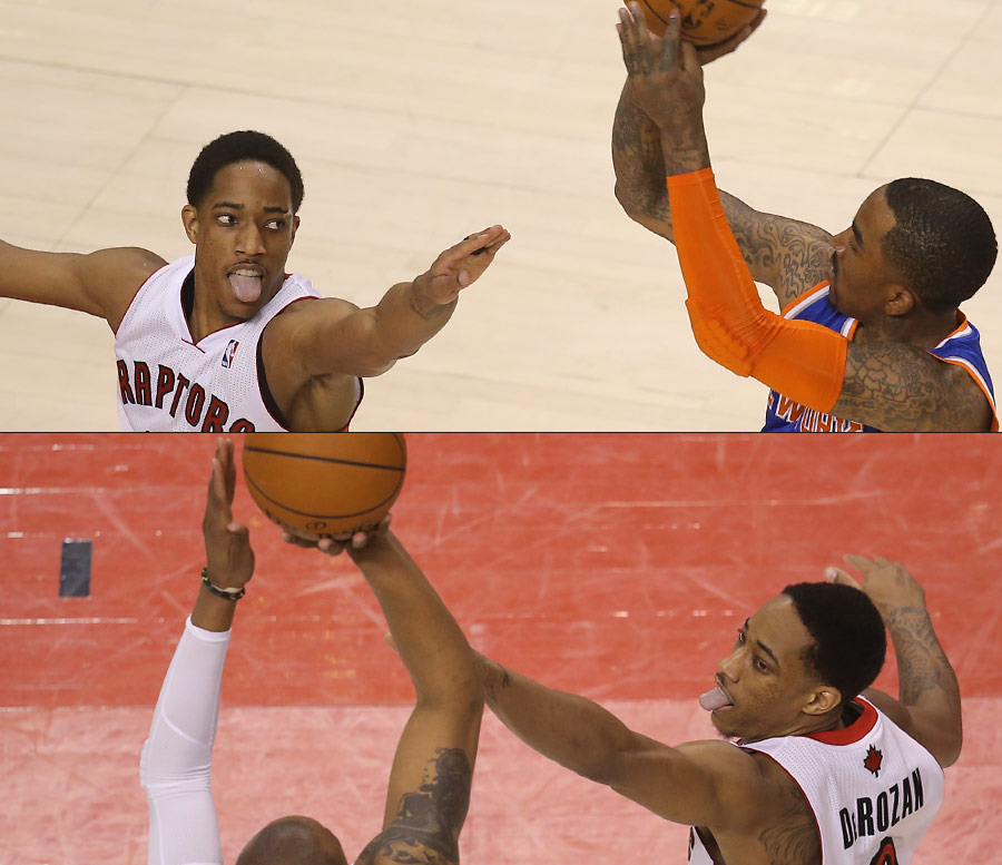 DeMar DeRozan lets the tongue fly as he plays defense