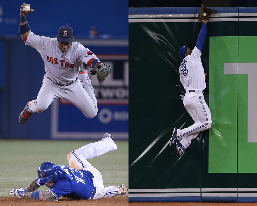 LEFT: Brett Lawrie of the Toronto Blue Jays is forced out at second but takes out Jonathan Herrera of the Boston Red Sox, who has to jump to avoid him. RIGHT: Anthony Gose of the Toronto Blue Jays makes a leaping catch against the wall against the Tampa Bay Rays