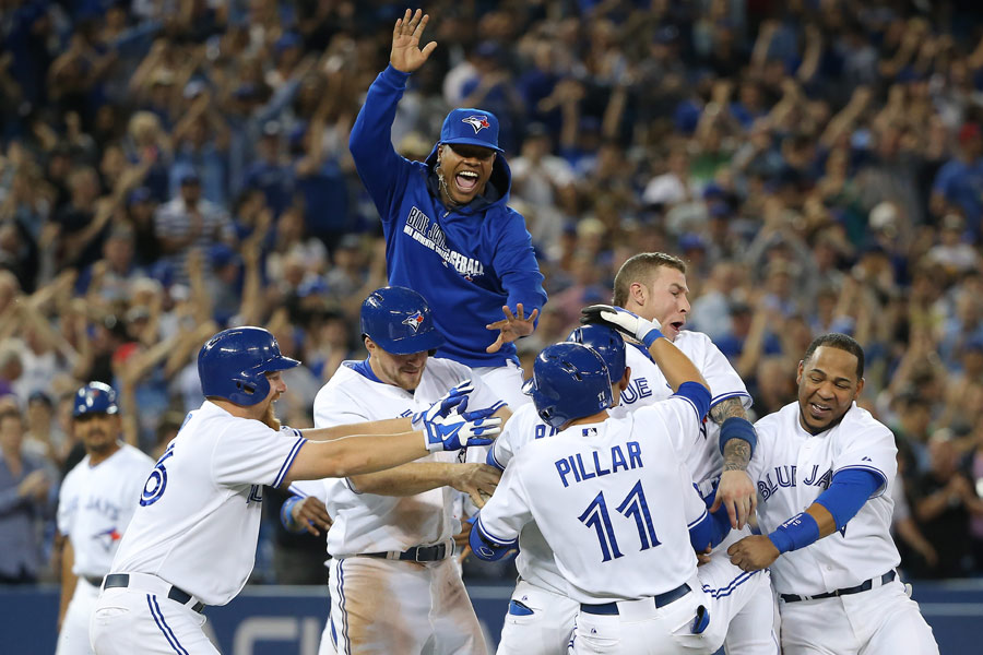 Marcus Stroman goes sky high as the Toronto Blue Jays celebrate their second walk-off victory of the season on June 9th against the Minnesota Twins