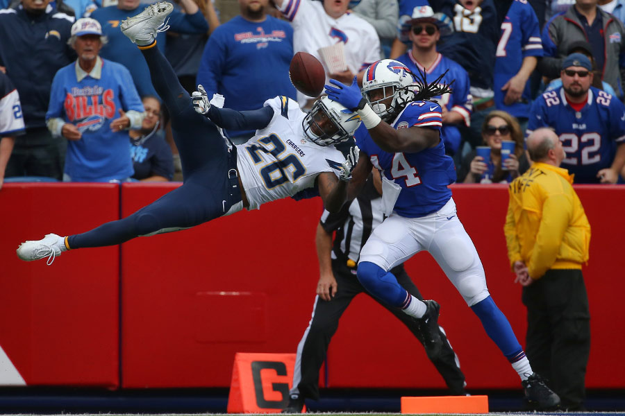 Brandon Flowers of the San Diego Chargers breaks up a pass intended for Sammy Watkins of the Buffalo Bills