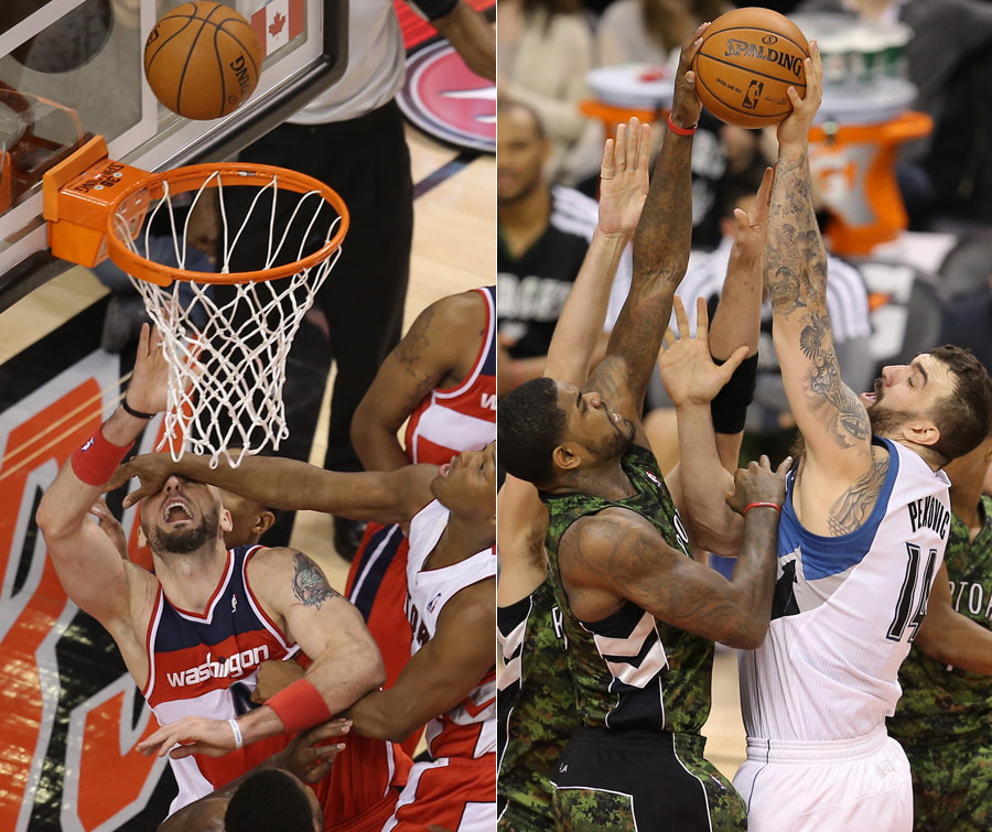 LEFT: Marcin Gortat of the Washington Wizards gets a hand to the face from Toronto Raptors Kyle Lowry. RIGHT: Toronto Raptors center Amir Johnson blocks Minnesota Timberwolves center Nikola Pekovic