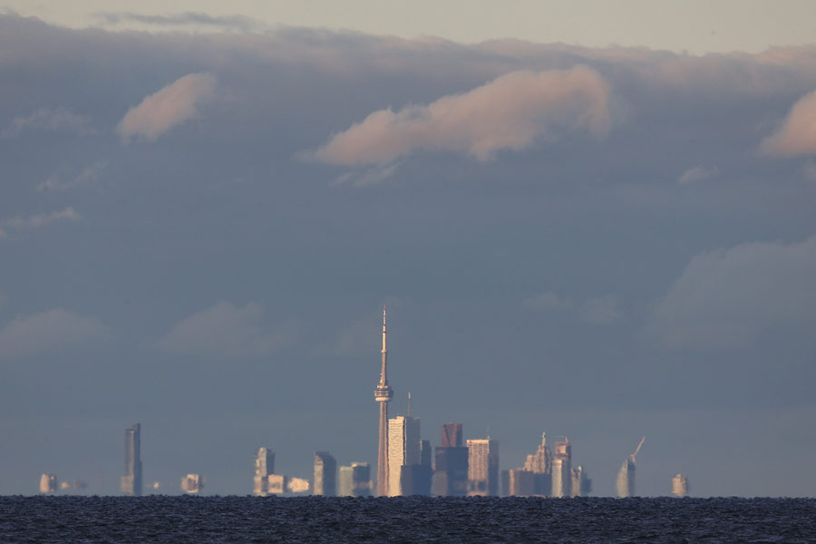 A view of the Toronto skyline from the shores of Lake Ontario near St. Catharines