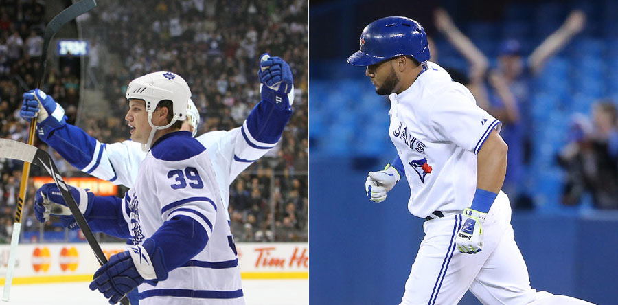 LEFT: John Mitchell scores a goal, but you wouldn?t know it if it wasn?t for the raised arms of teammate Tomas Kaberle. RIGHT: It would have been nice if Melky Cabrera was as excited as the fan in right field after hitting this 3-run homer