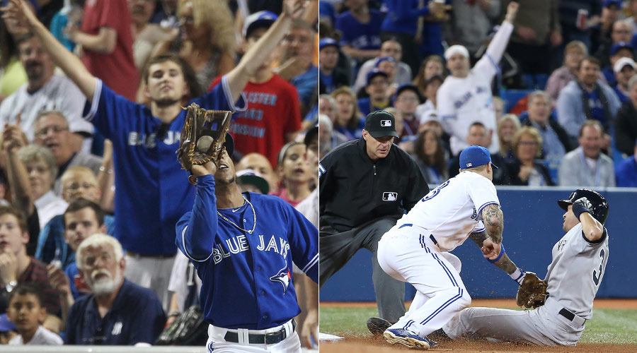 LEFT: Anthony Gose catches a fly ball to the delight of an overexuberant fan. RIGHT: A Blue Jays fan is thrilled to see Ichiro Suzuki get tagged out at third base by Brett Lawrie