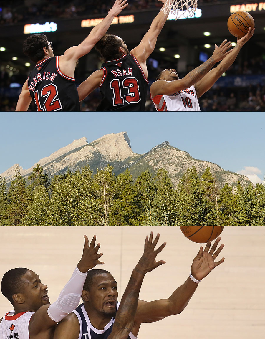 TOP: DeMar DeRozan and his Chicago Bulls opponents stretch the triad of arms in unison. MIDDLE: The three peaks in Banff. BOTTOM: Kevin Durant is swarmed by a couple of Toronto Raptors as he goes to the basket forming a triumvirate of arms