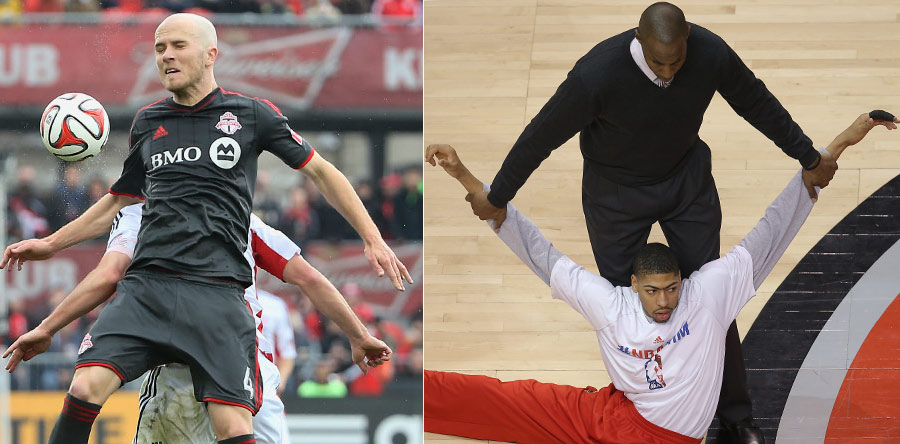 LEFT: Michael Bradley goes up to play a ball as he is shadowed by a New England Revolution player forming, in the process, something that is only four arms short of a Buddha statue. RIGHT: Anthony Davis is assisted by a trainer with his pre-game stretches