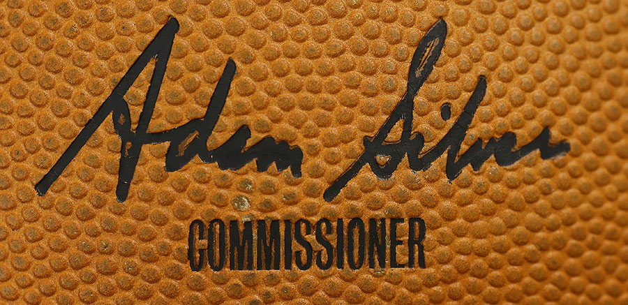 Even the NBA commissioner?s signature has made its way onto the bouncy basketball