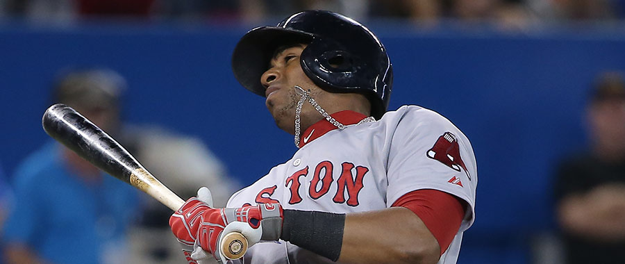Yoenis Cespedes avoids an inside pitch, but instead gets plunked by his chain