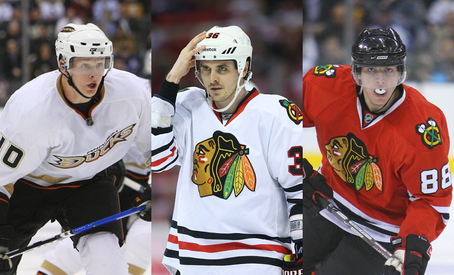 Former London Knights Corey Perry, Dave Bolland, and Patrick Kane