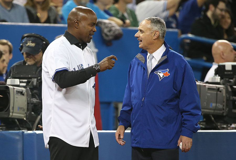 Even the new Commish, Rob Manfred, dropped into Toronto for the home opener. Here he is meeting with Carlos Delgado