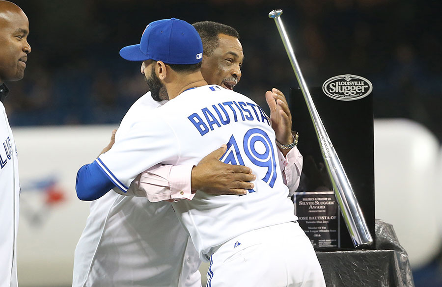 This year's pageantry included my favourite player George Bell presenting his fellow Dominican Jose Bautista with the Silver Slugger Award