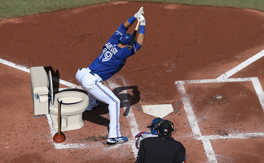 Joey Butts :  When that tight pitch comes whizzing in, Jose Bautista transforms into Phil Plantier and goes into his toilet-bowl stance
