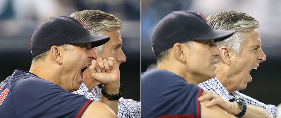 New is not always exciting :  Newly appointed president of the Red Sox Dave Dombrowski and newly installed interim manager Torey Lovullo share what is undoubtedly a stimulating conversation