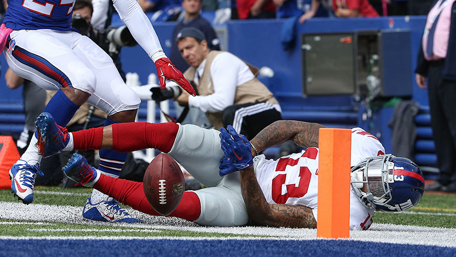 This play will not go down as one of Odell Beckham?s masterpieces, as the ball ignominiously hits the turf after it slid between his hands for a dropped pass