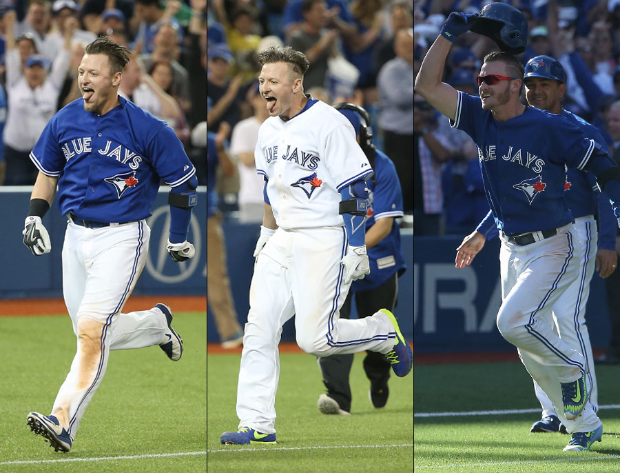 The three Donaldson walk-off blasts of the ?15 campaign.  LEFT: April 18th against the Braves.  MIDDLE: May 26th against the White Sox.  RIGHT: September 27th against the Rays