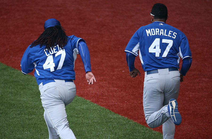 They?re multiplying !  Franklin Morales gave newly acquired Johnny Cueto his #47 upon arriving in Kansas City, but Morales? new batting practice jersey was not yet ready.  Alas, a duo of 47s infest the field