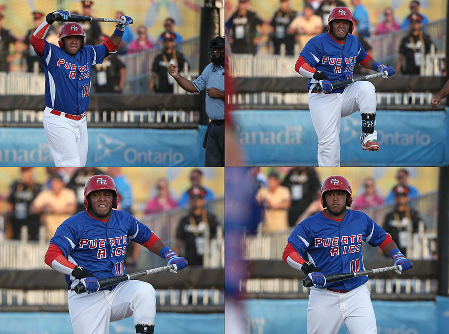 You?re no Bo: After striking out to end the fourth inning, Puerto Rico catcher Roberto Pena vents by attempting to snap the bat over his knee.  Either he lacked the strength, the passion, or the commitment to actually follow through with his rage.  The bat survived and Pena?s ego probably took a hit