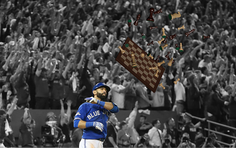 After checkmating the Rangers with his go-ahead blast in the seventh inning, Jose Bautista tosses the chess board and the pieces with reckless abandon
