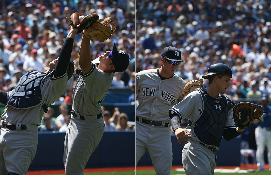 Who?s got it ?  John Ryan Murphy snags the overhead pop up away from Greg Bird, who checks his own glove just in case