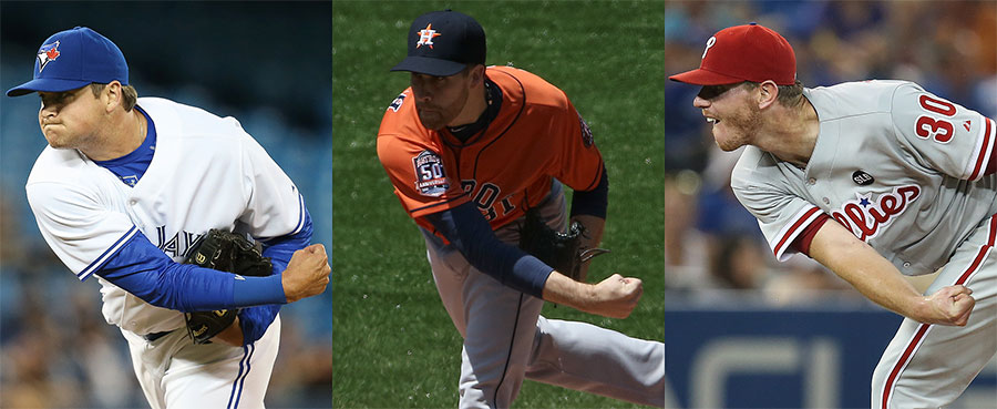 Take THAT !  Chad Jenkins, Collin McHugh, Justin De Fratus follow through after throwing one heckuva haymaker