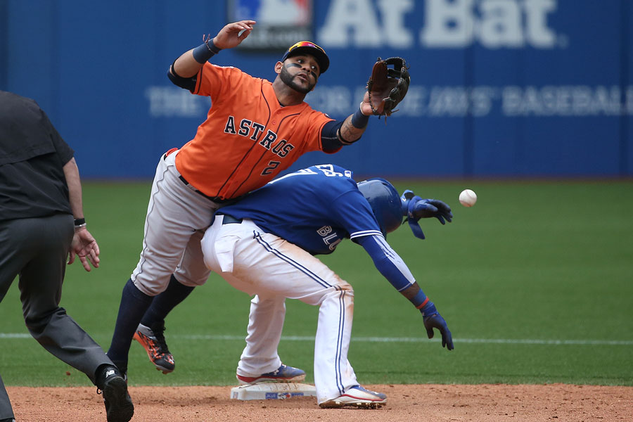 One of the oddest plays I?ve witnessed in baseball: Jonathan Villar goes after a pop up but runs into Jose Reyes at second base. The ball landed for an infield single by Jose Bautista, but interference could not be called against the baserunner, Reyes, who is rightfully on the bag when Villar ran into him