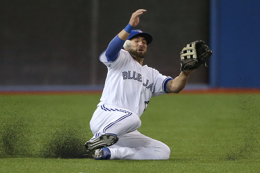 Kevin Pillar makes an aggressive attempt going after a ball that lands in front of him going for a double for David DeJesus as the ball gets past Pillar leading to a run scoring on the play