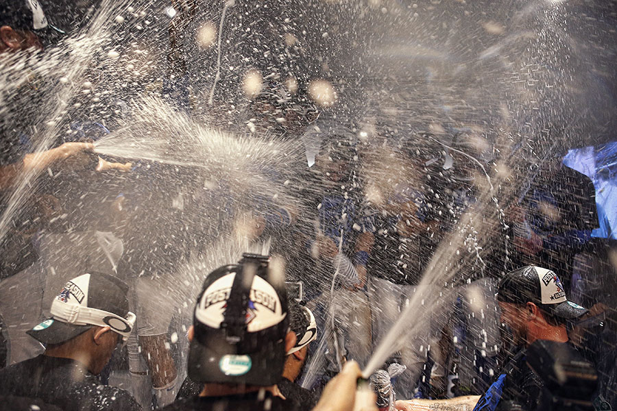The champagne flies every which way in the clubhouse as the Blue Jays celebrate their ALDS series victory in Game 5 to advance to the ALCS and win the franchise?s first playoff series since 1993