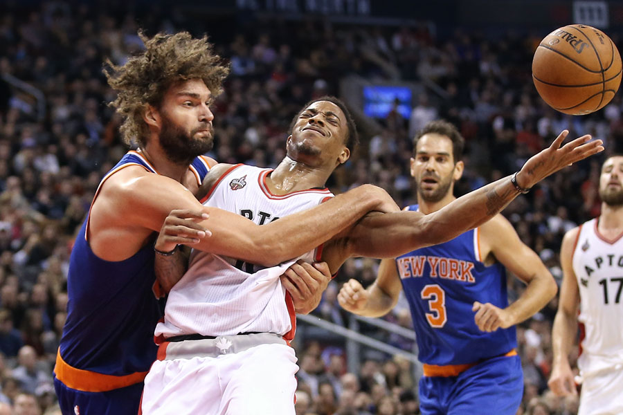DeMar DeRozan is fouled by Robin Lopez but should probably feel lucky that he wasn?t tackled