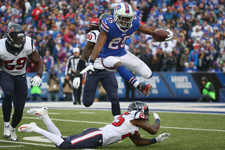 LeSean McCoy hurdles over Kareem Jackson to extend this carry by a few more yards