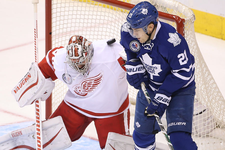 James van Riemsdyk parks himself in front of goalie Petr Mrazek as the shot goes off the crossbar