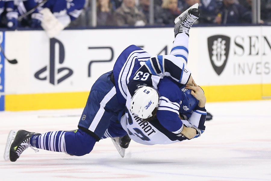 Daniel Winnik takes down Ben Chiarot as the two tangle