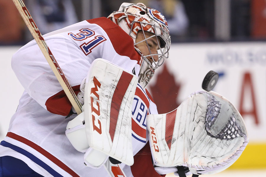 An up-close view of one of many saves made last season by Hart and Vezina Trophy winner Carey Price