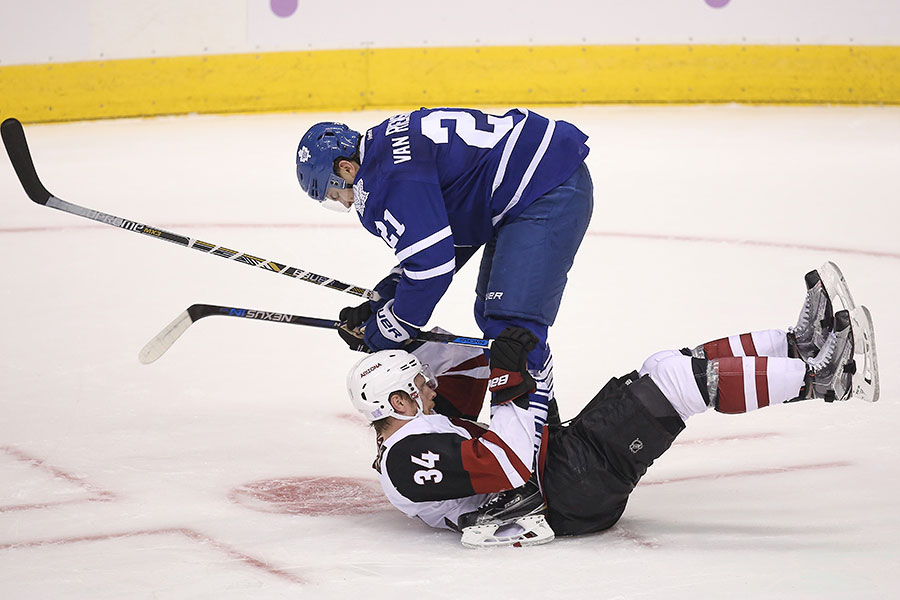 James van Riemsdyk dumps Klas Dahlbeck to the ice and shows he has dominion over the fallen Dahlbeck