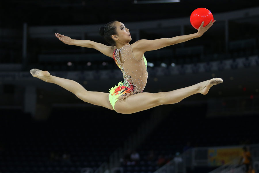 Laura Zeng (USA) performs her rhythmic gymnastics routine in the individual all-around final and qualifications during the 2015 Pan Am Games at Toronto Coliseum