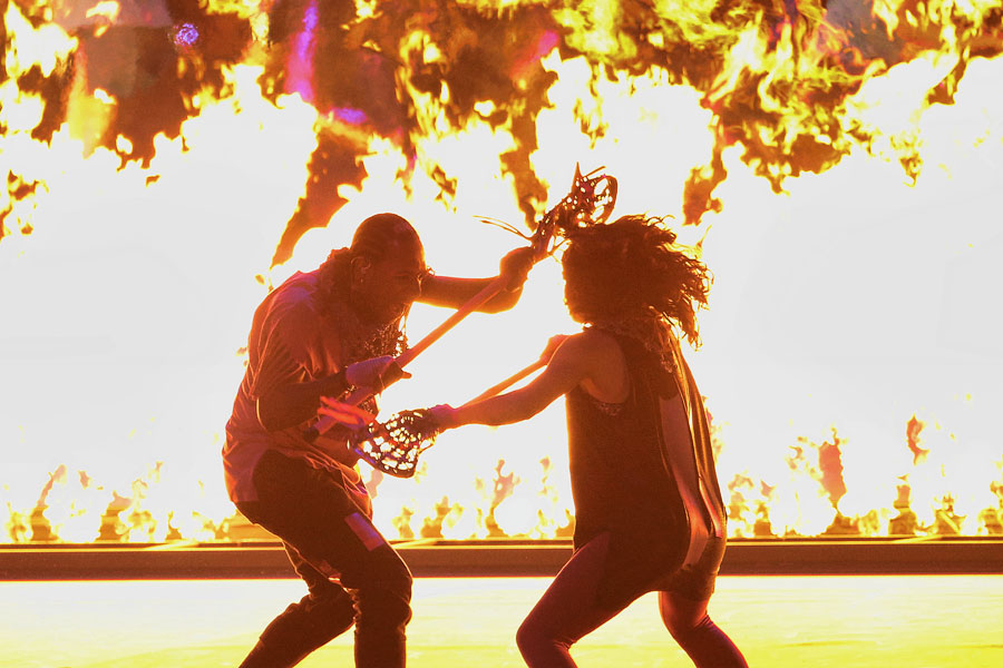 Dancers perform on stage during the opening ceremonies for the 2015 Pan Am Games at Pan Am Ceremonies Venue